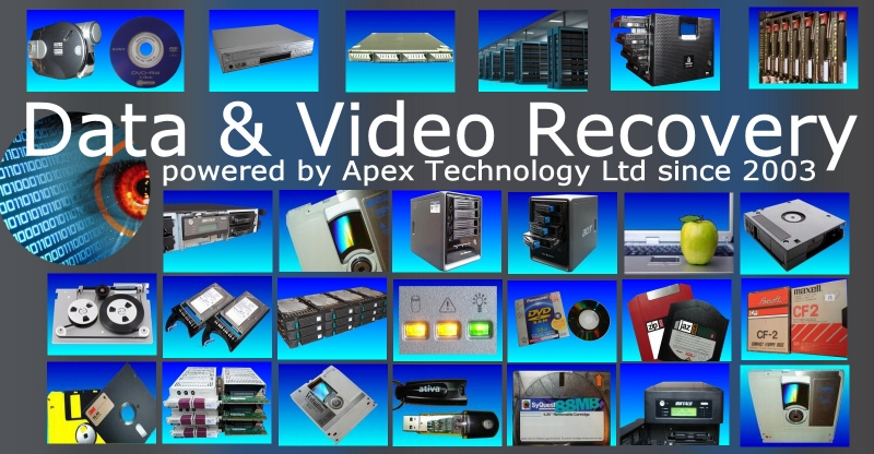 Data recovery for files, folders and video. The photo shows our range of devices from which we extract and retrieve data.